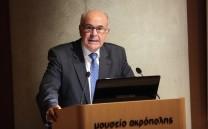 Στο βήμα ο Ομότιμος Καθηγητής της Νομικής Σχολής του Αριστοτελείου Πανεπιστημίου και Πρώην Πρόεδρος του Δικαστηρίου Ευρωπαϊκής Ένωσης κ. Βασίλειος Σκουρής.